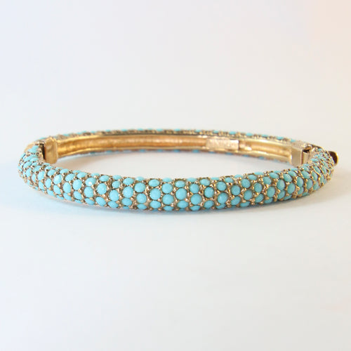 Ciner NY Faux Turquoise Crystal Encrusted Clamper Bangle