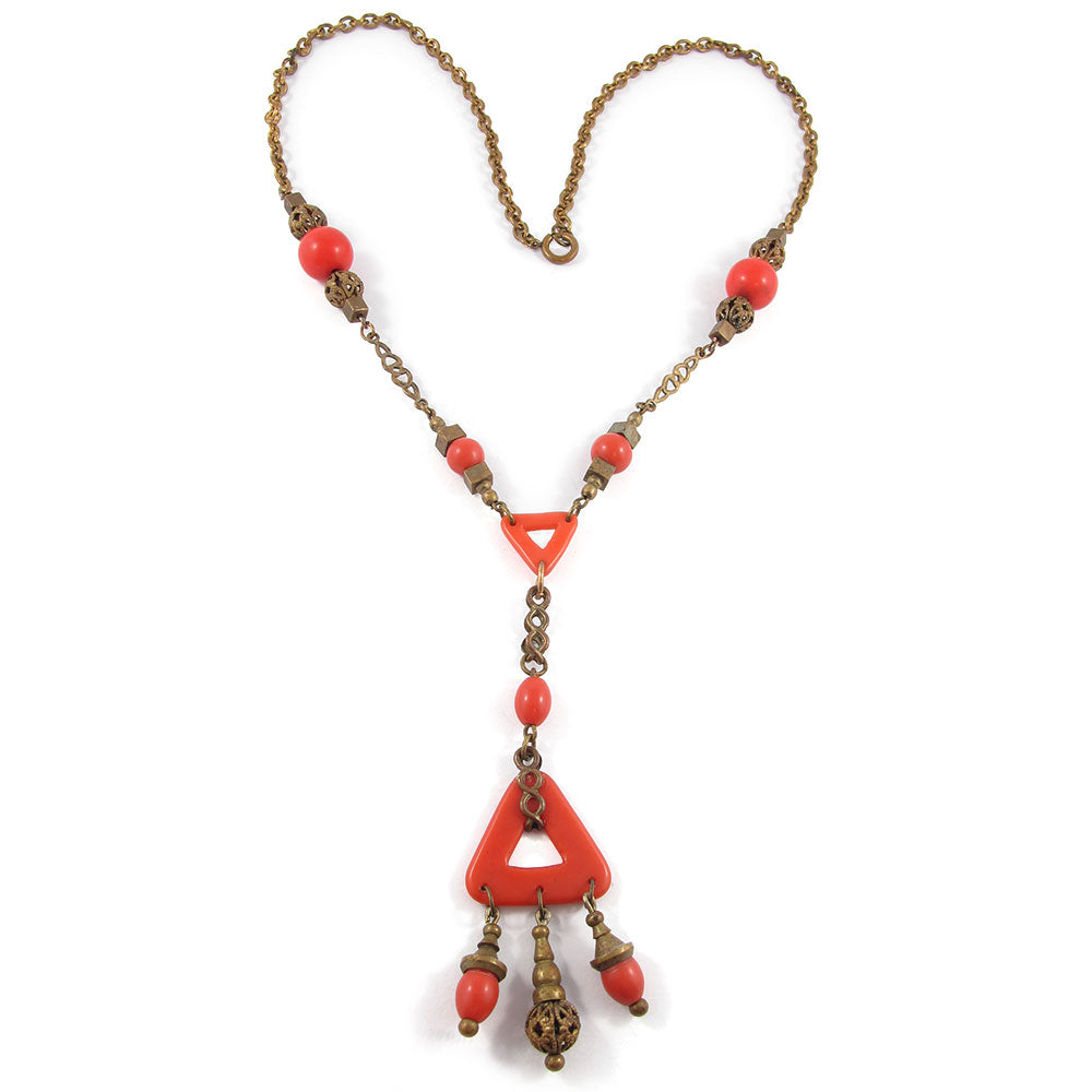 French Vintage Early Art Deco Faux Coral & Brass Lavalier Necklace c. 1930