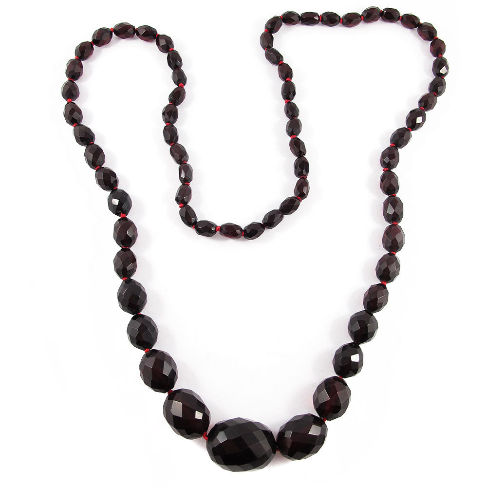 Vintage Faceted Bakelite Beaded Necklace - Cherry c. 1950's