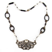 Load image into Gallery viewer, French Vintage Filigree Fan Motif Necklace with Crystal Beads c. 1940
