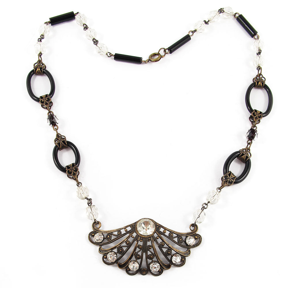 French Vintage Filigree Fan Motif Necklace with Crystal Beads c. 1940