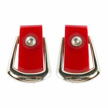 Load image into Gallery viewer, Vintage Buckle Design Red Coloured Bakelite and Metal Earrings c. 1950 - (Clip-On Earrings)