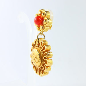 Christian Lacroix Signed Vintage 1990s Scalloped Drop Gold Plated Earrings (Clip-on)