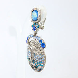 Christian Lacroix Vintage Signed 1990s Silver & Blue Crystal Earrings (Clip-on)