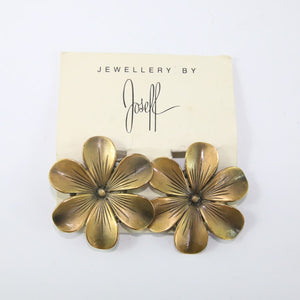 Joseff of Hollywood Vintage Signed Flower Design Earrings c. 1940 (Clip-on)