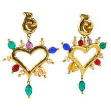 Load image into Gallery viewer, Christian Lacroix Vintage Signed Gold Tone Heart Earrings with Multi Coloured Glass Beads (Clip-on)