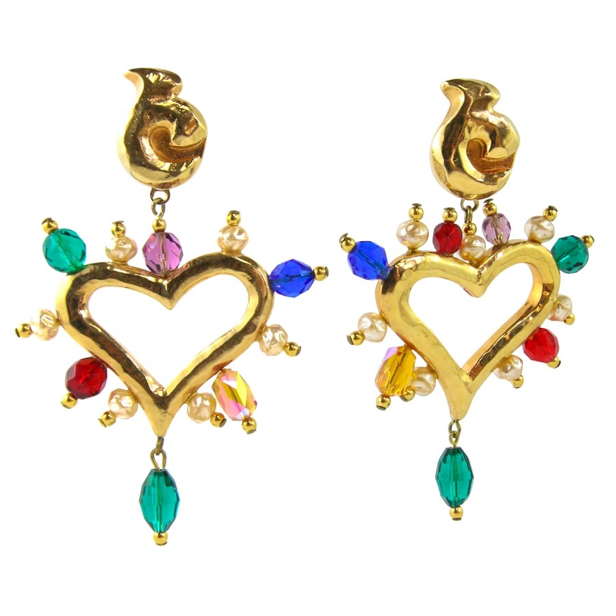 Christian Lacroix Vintage Signed Gold Tone Heart Earrings with Multi Coloured Glass Beads (Clip-on)