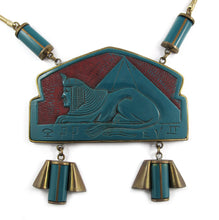Load image into Gallery viewer, Rare French Vintage Egyptian Design Galalith-Brass Necklace c. 1920