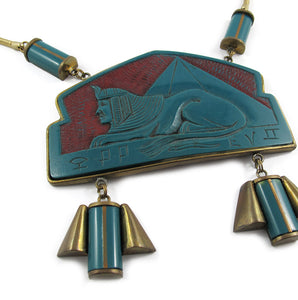 Rare French Vintage Egyptian Design Galalith-Brass Necklace c. 1920