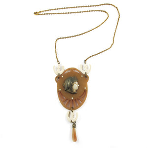 Vintage circa 1930's Galalith-Brass Necklace