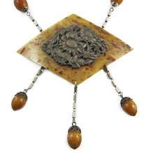 Load image into Gallery viewer, Rare French Vintage Galalith-Brass Handmade Necklace c. 1930's