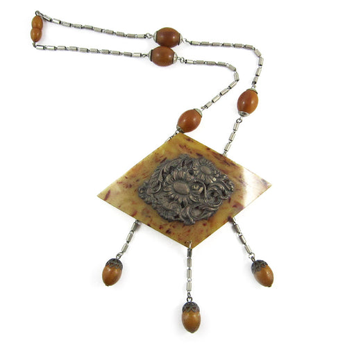 Rare French Vintage Galalith-Brass Handmade Necklace c. 1930's