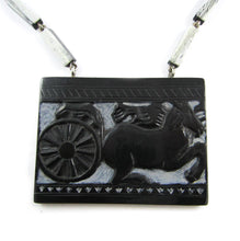 Load image into Gallery viewer, French Deco Necklace - Carved design of horse and carriage - 1940's