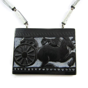 French Deco Necklace - Carved design of horse and carriage - 1940's