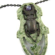 Load image into Gallery viewer, French Deco Scarab Design Pendant Necklace c. 1930