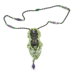 French Deco Scarab Design Pendant Necklace c. 1930