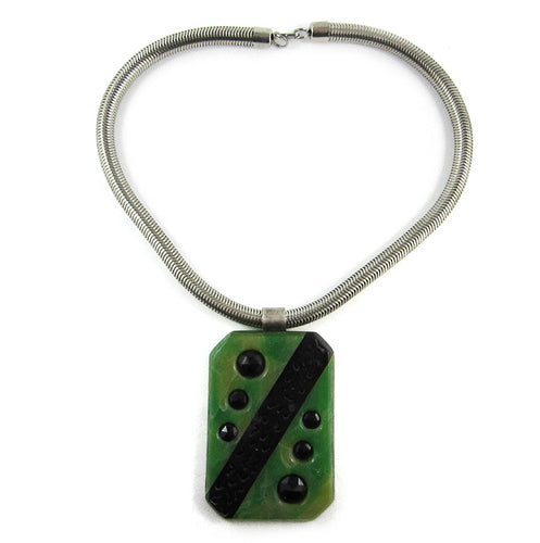 French 1940's Deco Galalith Necklace - Green
