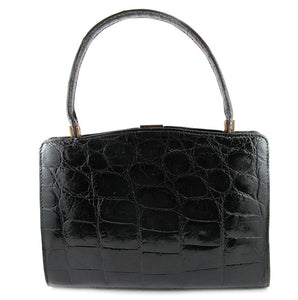 French Vintage Signed 'Made Expressly For Macy Associates' Croc Skin Purse c. 1950
