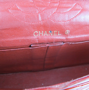 Vintage Authentic Signed 'Chanel' Quilted Red Leather Chain Bag - Paris