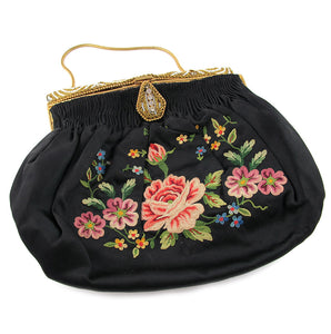 Vintage French 1920's Hand Made, Embroidery Purse with Beaded Crystal Detail