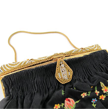 Load image into Gallery viewer, Vintage French 1920's Hand Made, Embroidery Purse with Beaded Crystal Detail