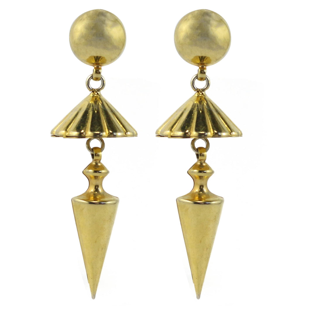 Vintage Gold Tone Drop Pyramid & Cone Earrings c. 1970's-( Clip-on Earrings)