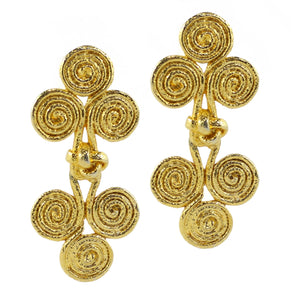 Double Thick Brush Paint Motif Drop Knot Vintage Gold Tone Earrings c.1970s (Clip-On Earrings)