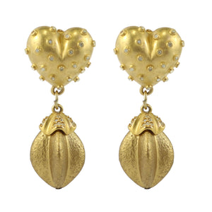 Vintage Gold Tone And Spotted Heart Crystal Drop Shaped Earrings c. 1980's-( Clip-on Earrings)