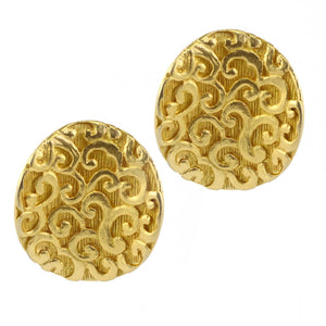 Vintage Embroidered Swirl Disc Matte Gold Tone Earrings c.1980s (Clip-On Earrings)