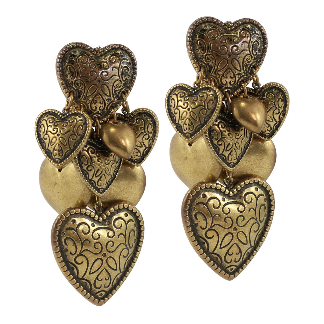Vintage Multi Heart Brass Tone and Printed Drop Earrings c. 1970's-( Clip-on Earrings)