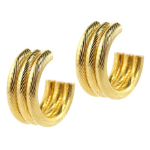 Load image into Gallery viewer, Thick Vintage Three Woven Panel Large Hoop Gold Tone Earrings c.1980s (Pierced)