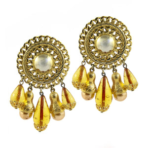 Circular Gold Tone Disc With Glass Beads Drop Tassel & Faux Pearl Earrings c.1970s (Clip-On Earrings)