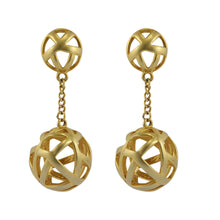 Load image into Gallery viewer, Vintage Criss Cross Drop Ball Gold Tone Clip-On Earrings c.1980s