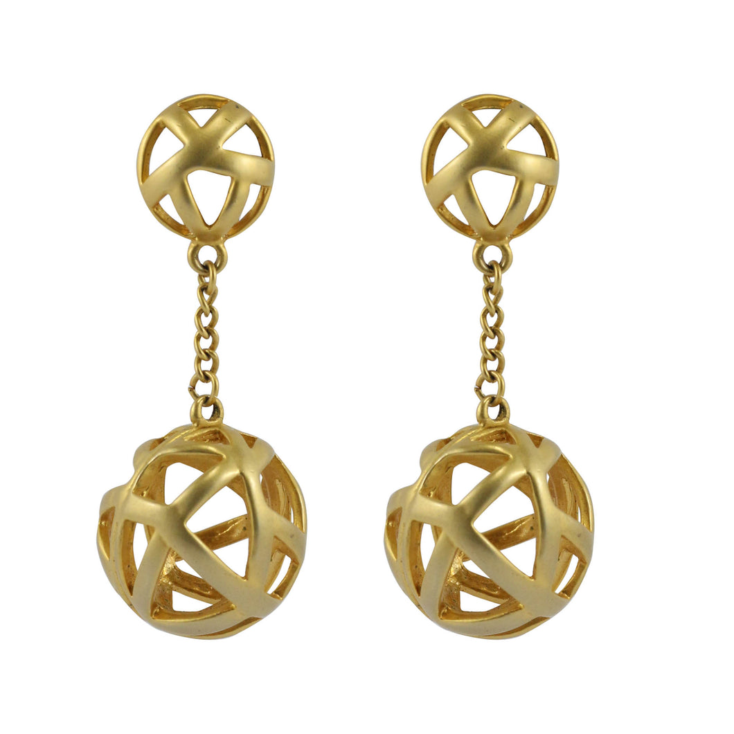 Vintage Criss Cross Drop Ball Gold Tone Clip-On Earrings c.1980s
