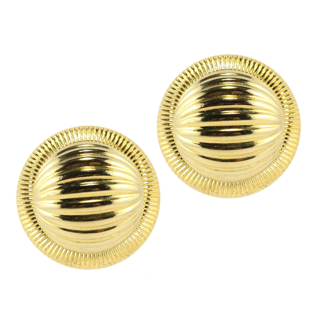 Large Vintage Gold Tone Circular Disc Clip-On Earrings c.1980s