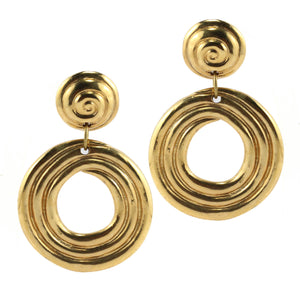 Swirly Painterly Vintage Hoop c.1970s Pierced Earrings