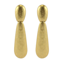 Load image into Gallery viewer, Beaten Matte Gold Tone Drop Vintage Clip-On Earrings c.1960s