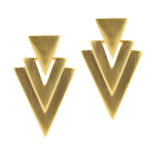 Load image into Gallery viewer, Matte Finish Gold Tone Triangle Drop c.1980s Clip-On Earrings
