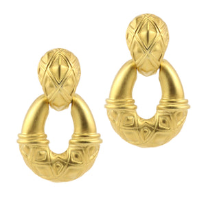 Revival Inspired Vintage Matte Gold Tone Engraved Clip-On Earrings c.1960s