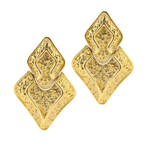 Textured Abstracted Triangle Gold Tone Vintage c.1970s Clip-On Earrings