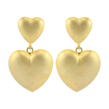 Load image into Gallery viewer, Matte Gold Tone Raised Double Heart Vintage Clip-On Earrings c.1980s
