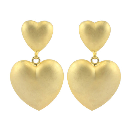 Matte Gold Tone Raised Double Heart Vintage Clip-On Earrings c.1980s