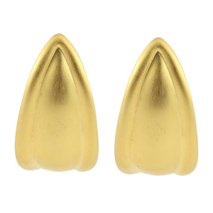Long Matte Gold Tone Streamlined Drop Clip-On Earrings c.1980s