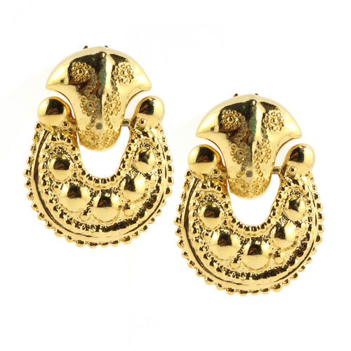 Polished Gold Tone Textured & Patterned Door Knocker Inspired Clip-On Earrings c.1980s