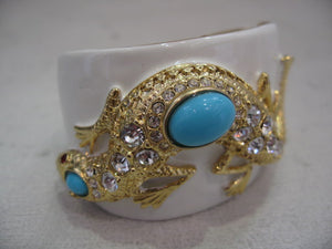 Kenneth Jay Lane Turquoise Lizard Clamper