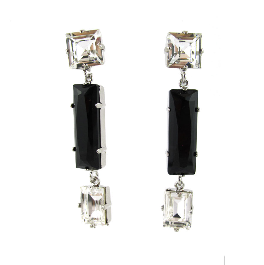 HQM Austrian Crystal Earrings - Drop Earrings - Clear, Black Opaque