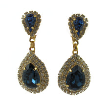Load image into Gallery viewer, HQM Austrian Crystal Earrings - Teardrop Earrings - Montana Blue and Clear