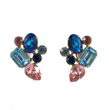 Load image into Gallery viewer, HQM Austrian Crystal Earrings - Abstract Cluster - Light Sapphire, Light Rose and Bermuda Blue