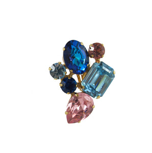HQM Austrian Crystal Earrings - Abstract Cluster - Light Sapphire, Light Rose and Bermuda Blue