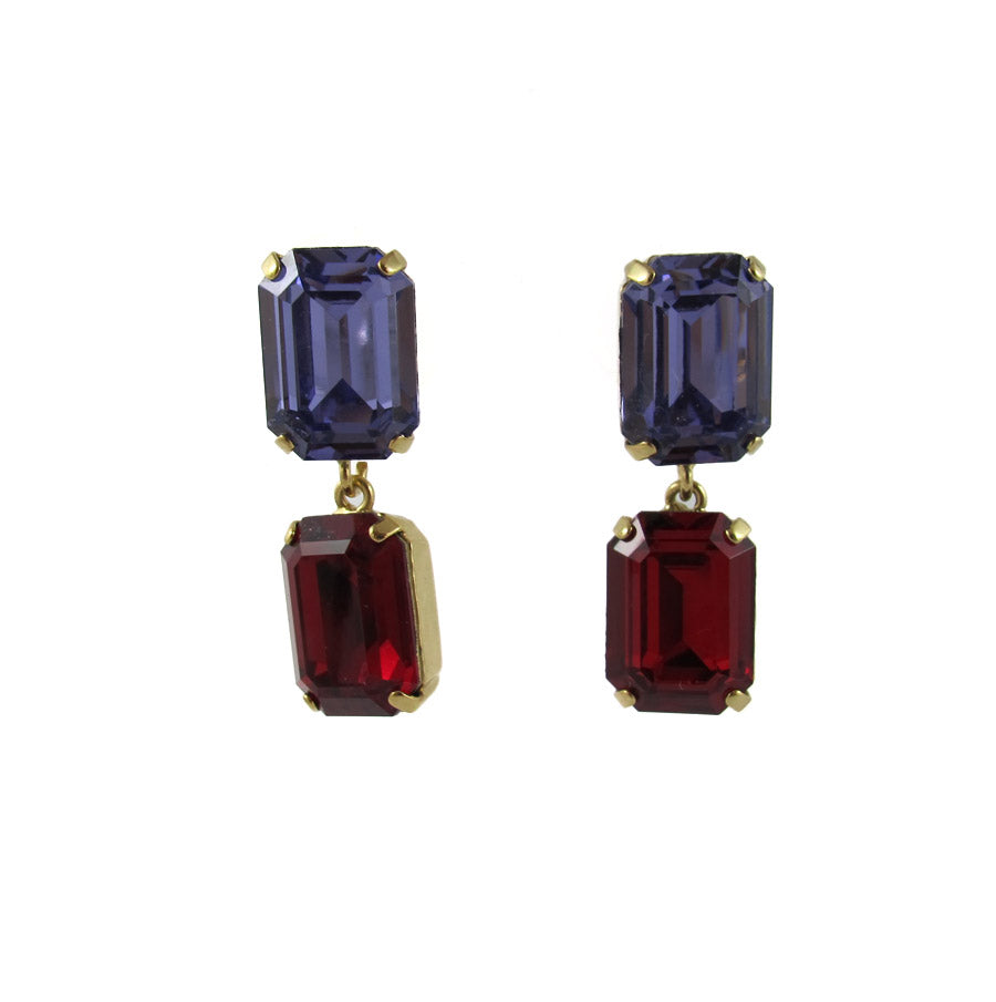 HQM Austrian Crystal Drop Earrings - Tanzanite Purple, Siam -(Pierced earrings)